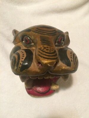 Vintage Carved Wood Tiger Head  Mexican Folk Art Carnival Style
