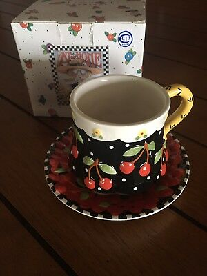 Mary Engelbreit 2001  Rey Cherry Black Cherries Tea Cup And Saucer