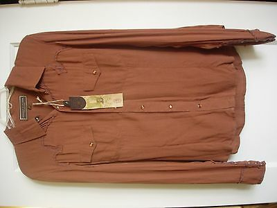 Nwt Womens Double D Ranch Copper/tan Westrn Lng Sleeve Shirt/blouse Sz M- Fits L