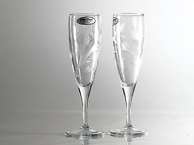 Time Tree Flute Champagne Turkish Glass Hand Decorated (Set of 2)