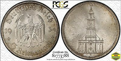 Silver 1934-A Germany Potsdam 5 Reichsmark PCGS MS62+ UNC Third Reich Mark Coin