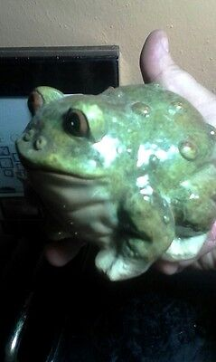 green brown warty toad garden vintage pottery