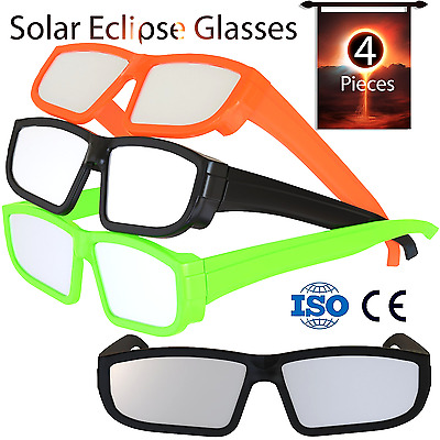 4 Pack Colored Solar Eclipse Glasses Direct Sun Viewing 100% Safe Eyewear Filter