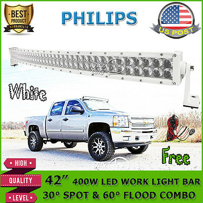 """42""""INCH 400W WHITE Curved LED Light Bar Spot Flood Offroad DRIVING LAMP PICKUP R"""