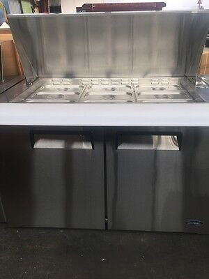 2-Door Stainless Steel Saladette Prep Table Refrigerator/Fridge