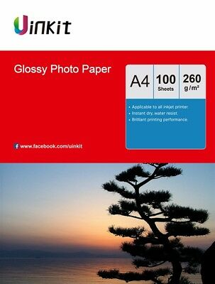 A4 Glossy Photo Printer Paper Inkjet Paper 260Gsm - 100 Sheets Uinkit