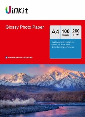 A4 Photo Paper High Glossy Inkjet Printer Paper 260Gsm - 100 Sheets Uinkit