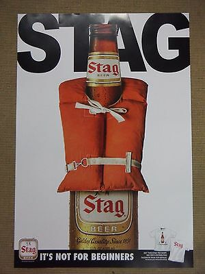 "Stag Beer Poster - ""Not for Beginners"" Fishing/Life Vest Theme"