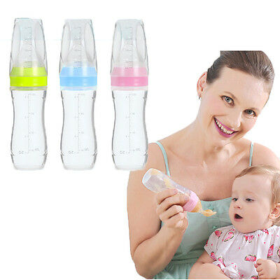 US Baby Silicone Squeeze Feeding Bottle With Spoon Food Rice Cereal Feeder