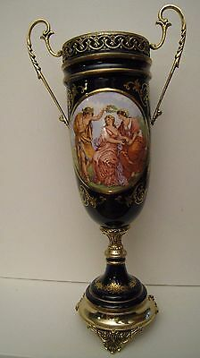 Inspired by Sevres Bronze Gilt porcelain urn vase cobalt vintage mint men women