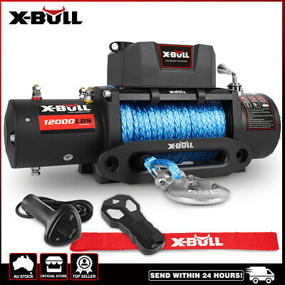 X-BULL 12000LB Electric Winch 24M Synthetic Rope 12V 5454kg 2x Remote 4WD NEW