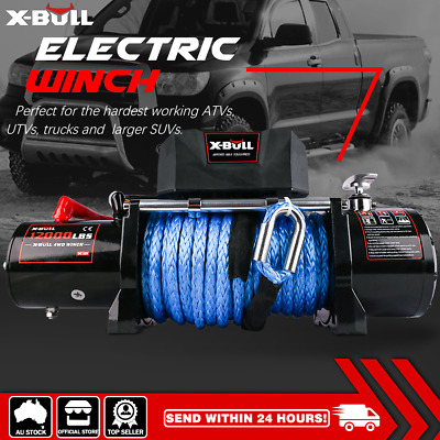 X-BULL NEW 12000LB Electric Winch 24M Synthetic Rope 12V 5454kg 2x Remote 4WD