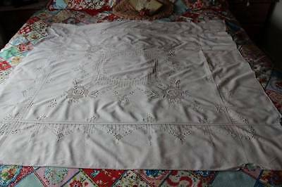 Vintage Tablecloth Ornate * Raised Hand Embroidery * Threadwork * Neutral Colour