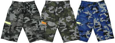 Boys Shorts Army Camo Pixels Neon Zip Combat Pocket Kids Fashion 3 to 14 Years