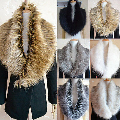Luxury Fluffy Winter Faux Fur Raccoon Christmas Collar Scarf Shawl Wrap Stole