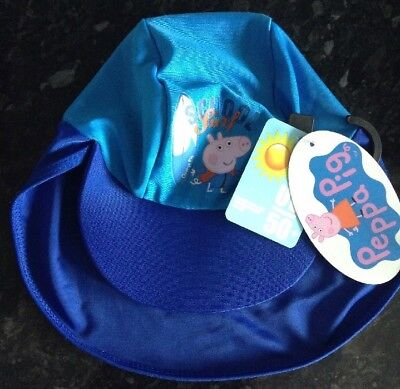 Baby Boys UV Swim Hat Peppa Pig George UV Sun Protection Hat One Size NEW BNWT