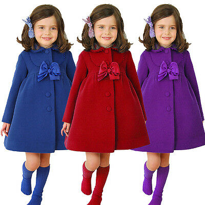 New Girls Trench Coat Fashion Kid Autumn Winter Bowknot Outerwear Dressy Clothes