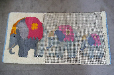 Large Vintage Readicut Latch Hook Rug - Part Worked - Canvas Only - Elephants