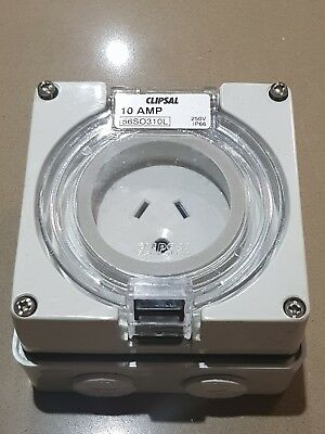 Clipsal outdoor safety socket 10A 2 flat pins 1 round earth 56SO310L