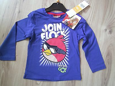 Boys Girls Angry Birds Long Sleeve Kids Cotton T-Shirt Top Tee 4-10 Years