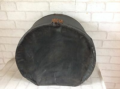 Vintage 1930's Black Leather Look Round Hat Box Suitcase Spares or Repairs Only