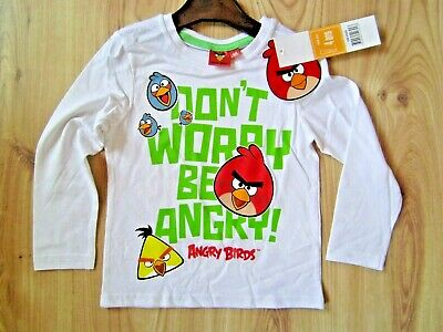 Boys Girls White Angry Birds Long Sleeve Kids Cotton T-Shirt Top Tee 4-10 Years