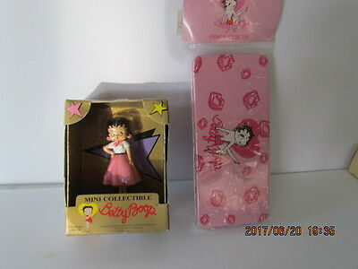 2 Betty Boop Mini Collectible 50's Pink Poodle Skirt & Pencil Case Tin !