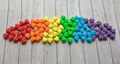 100 Edible Sugarpaste RAINBOW HEARTS Cupcake  Cake Toppers Girls Unicorn