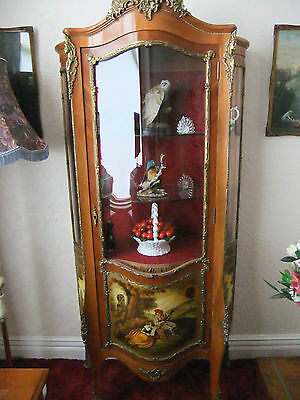 Antique bow fronted Vernis Martin Ormolu Display French Style Cabinet stunning -
