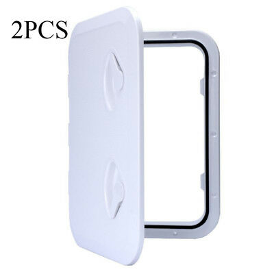 Pair WHITE ACCESS HATCH & LID 315 x 440mm - Marine/Boat/Caravan/RV/Storage New