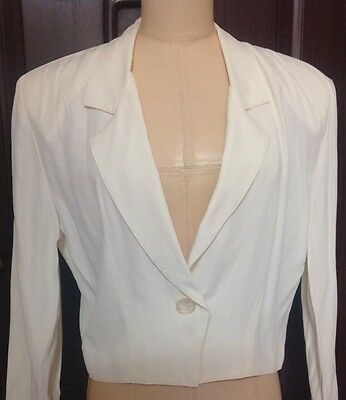 VTG 1990's Francine Browner Womens Cropped Jacket Cream Long Sleeve One Button