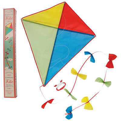 dotcomgiftshop TRADITIONAL FABRIC DIAMOND KITE WITH BOW TRAIL TAIL IN A GIFT BOX