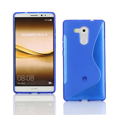 TPU Gel Case + Screen Protector for Huawei Mate 8 - Blue S Line Wave