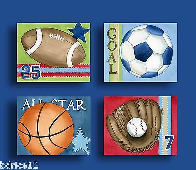 SPORTS NURSERY BEDDING BASEBALL FOOTBALL KIDS Children baby boy art prints