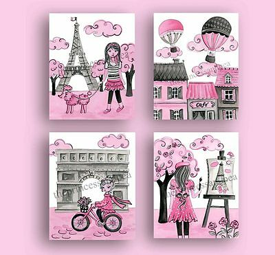 Paris Wall Art Decor Baby Girl Nursery Bedding  Artwork  Pink Gray Back French