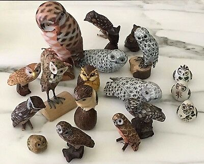 Owl Figure Collection - Lot of 19 - Wood Ceramic Carved Stoneware Resin Painted