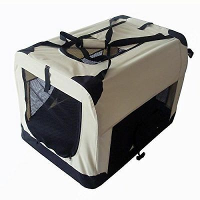 Pet Zone Strong Pet Beige And Black Fabric Crate Cage Soft For Dog Cat