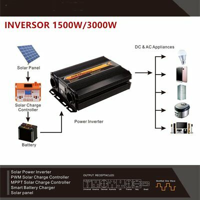T8102 1500W/3000W Solar Power Inverter Converter Lcd Dispaly For Car Home Use Gh
