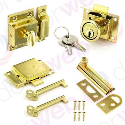 BRASS CUPBOARD DRAWER LOCK BOLT Turn Cylinder Slide Key Cabinet Door Latch Catch