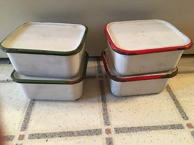 Lot/4 Vintage Enamel Rectangle Box Container Green & Red W Lids Fridge Storage