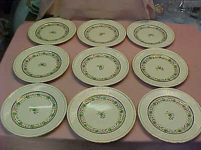 """Set of 9 Antique Wedgwood Edme 10 1/2"""" Dinner Plates with Nice Luster Pattern"""