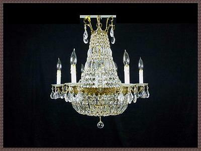 Vintage Antique Brass French Empire Basket Chandelier 800+ Spectacular Crystals!