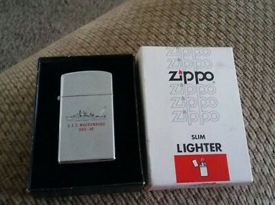 U.S. Navy Souvenir Zippo Slim Lighter-U.S.S. MACDONOUGH DDG-39 New/Original Box