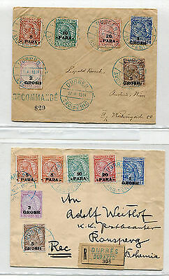 1914 TWO ALBANIA REGISTERED COVER sent to BOHEMIA & AUSTRIA