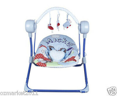 Fashion Blue Security Baby Swing Chair/Electric Rocking Chair+Charger JM