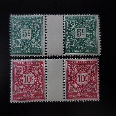 France Colonie Mauritanie Timbre Taxe N°17/18 Paire Avec Pont Neuf ** Luxe Mnh