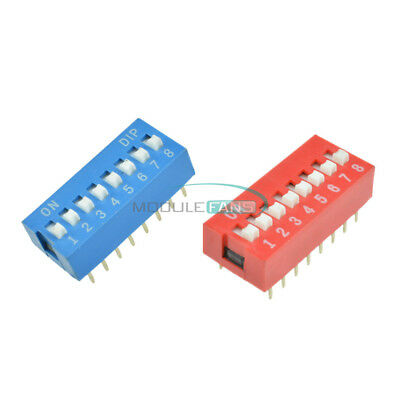 10/50PCS 2.54mm Pitch 8-Bit 8 Positions Ways Slide Type DIP Switch  Red/Blue
