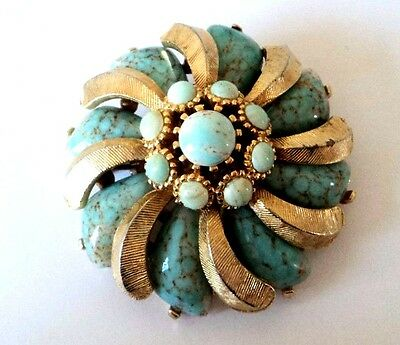 c.1970s Ornate SIGNED 'SPHINX' Goldtone TURQUOISE SPECKLED GLASS Pinwheel Brooch