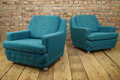 60s PAIR LOUNGE CHAIRS ARMCHAIR DANISH 2x EASY CHAIR VINTAGE Mid-Century 70s