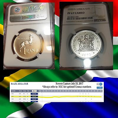 1970 SOUTH AFRICA PF 67 CAMEO  NGC CONSERVED Silver Rand R1  1r